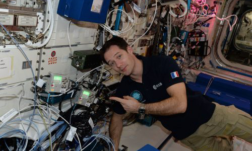 Astronaut Thomas Pesquet with Astro Pi computers aboard the International Space Station.